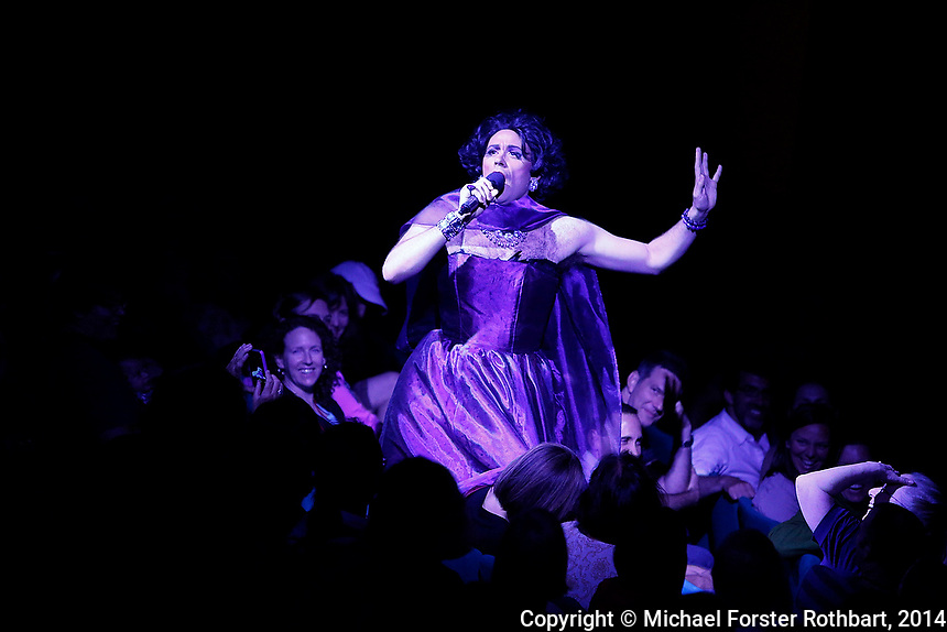 Swarthmore College alumni perform in a Sesquicentennial Cabaret in the Lang PAC during the college&rsquo;s 150th reunion, June 7, 2014. Performers included Quinn Bauriedel, Dito van Reigersberg (as Martha Graham Cracker), Kit Buckley and Maya Azucena (all class of 1994), Eva Amesse &rsquo;11, Judith Lorick &rsquo;69 and Sixteen Feet.<br /> &copy; Michael Forster Rothbart Photography<br /> www.mfrphoto.com &bull; 607-267-4893<br /> 34 Spruce St, Oneonta, NY 13820<br /> 86 Three Mile Pond Rd, Vassalboro, ME 04989<br /> info@mfrphoto.com<br /> Photo by: Michael Forster Rothbart<br /> Date:  6/7/2014<br /> File#:  Canon &mdash; Canon EOS 5D Mark III digital camera frame B05726