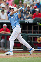 North Carolina outfielder Michael Russell (5) follows through on his swing during Game 3 of the 2013 Men's College World Series against the North Carolina State Wolfpack at TD Ameritrade Park on June 16, 2013 in Omaha, Nebraska. The Wolfpack defeated the Tar Heels 8-1. (Andrew Woolley/Four Seam Images)