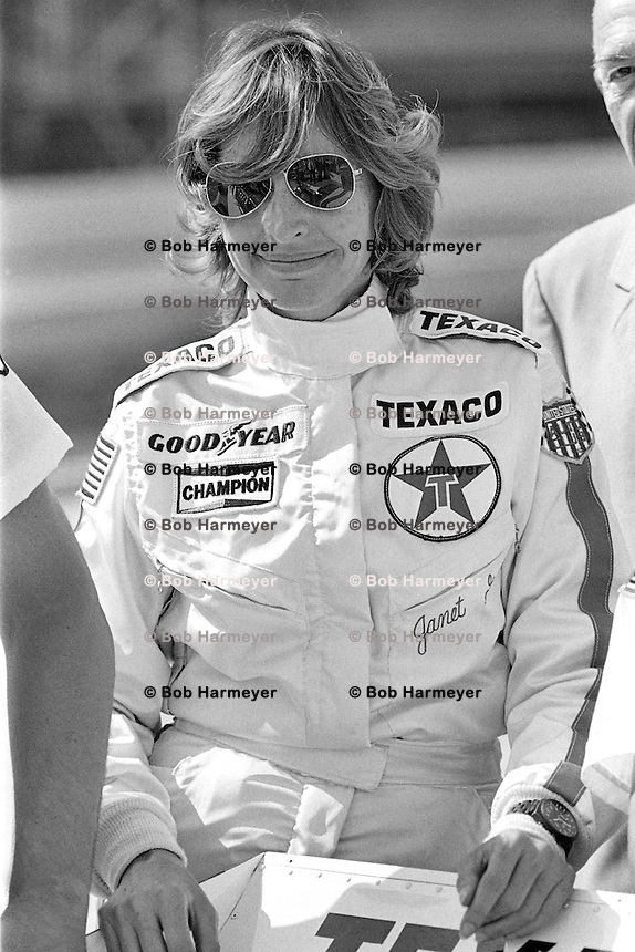 INDIANAPOLIS, IN - May 28: Janet Guthrie waits to drive her Wildcat III/DGS during practice for the 1978 Indianapolis 500 on May 28, 1978, at the Indianapolis Motor Speedway in Speedway, Indiana.