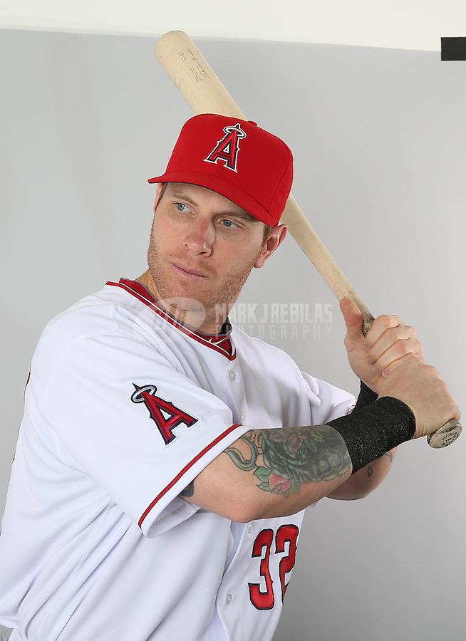 Feb. 21, 2113; Tempe, AZ, USA: Los Angeles Angels outfielder Josh Hamilton poses for a portrait during photo day at Tempe Diablo Stadium. Mandatory Credit: Mark J. Rebilas-
