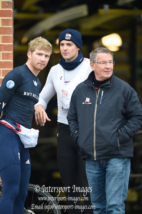 Caversham  Great Britain.<br /> &quot;what are we looking for' left to right, Constantine LOULOUDIS, Pete REED and coach, Jurgan GROBLER <br /> 2016 GBR Rowing Team Olympic Trials GBR Rowing Training Centre, Nr Reading  England.<br /> <br /> Wednesday  23/03/2016 <br /> <br /> [Mandatory Credit; Peter Spurrier/Intersport-images]