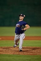 Mississippi Braves pitcher Jason Creasy (15) during a Southern League game against the Jackson Generals on July 23, 2019 at The Ballpark at Jackson in Jackson, Tennessee.  Mississippi defeated Jackson 1-0 in the second game of a doubleheader.  (Mike Janes/Four Seam Images)