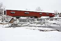 63904-03315 Bridgeton Covered Bridge in winter at Bridgeton, IN