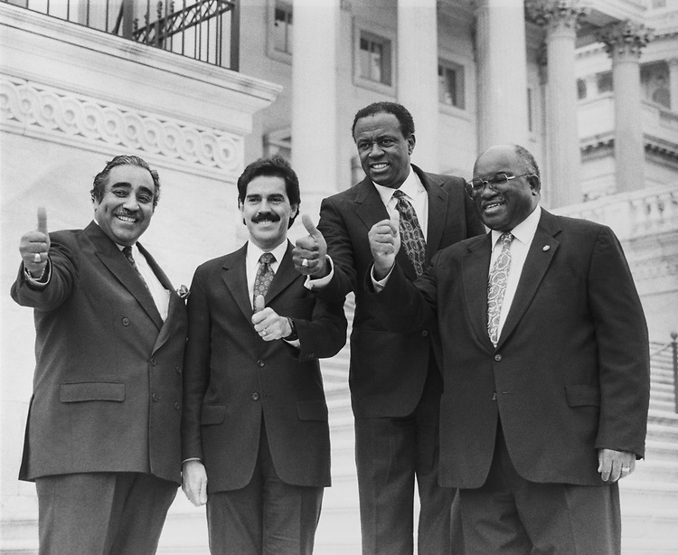 Rep. Charles Rangel, D-N.Y., Assembly Member Rep. Jose E. Serrano, D-N.Y., Rep. Edolphus Towns, D-N.Y., and Rep. Major R. Owens, D-N.Y., on Capitol Hill on March 15, 1990. (Photo by Maureen Keating/CQ Roll Call via Getty Images)