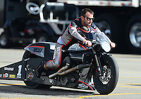 Nov. 9, 2012; Pomona, CA, USA: NHRA pro stock motorcycle rider Eddie Krawiec during qualifying for the Auto Club Finals at at Auto Club Raceway at Pomona. Mandatory Credit: Mark J. Rebilas-