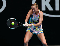 26th January 2020; Melbourne Park, Melbourne, Victoria, Australia; Australian Open Tennis, Day 7; Petra Kvitova of Czech returns during her match against Maria Sakkari of Greece