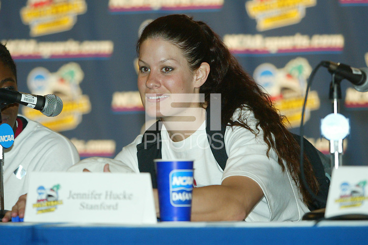 18 December 2004: Stanford Cardinal Jennifer Hucke addresses the media during Stanford's  30-23, 30-27, 30-21 victory over Minnesota in the 2004 NCAA Women's Volleyball National Championships in Long Beach, CA. Stanford won their sixth women's volleyball title in school history.<br />Photo credit mandatory: David Gonzales
