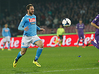 Gonzalo Higuain   in action during the Italian Serie A soccer match between SSC Napoli and AC Fiorentina   at San Paolo stadium in Naples, March 22 , 2014