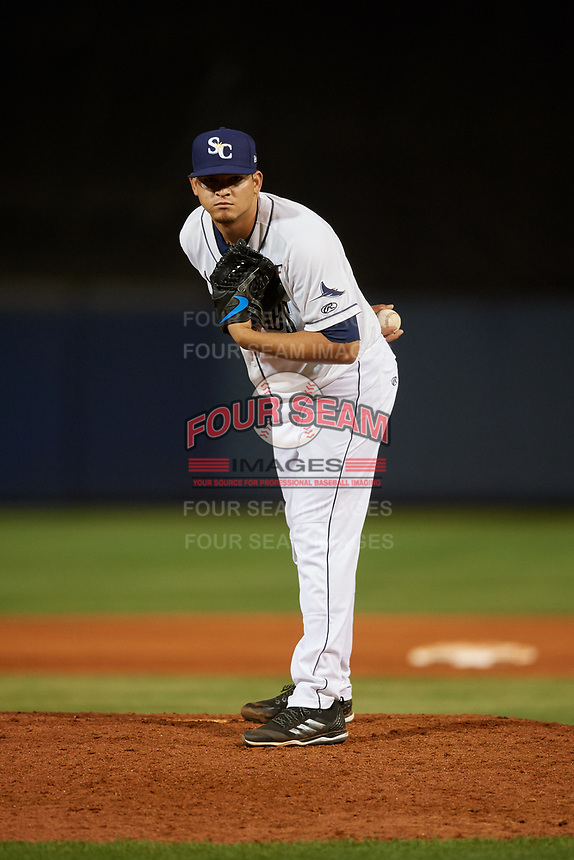 Charlotte Stone Crabs relief pitcher Adrian Navas (15) looks in for the sign during a game against the Palm Beach Cardinals on April 20, 2018 at Charlotte Sports Park in Port Charlotte, Florida.  Charlotte defeated Palm Beach 4-3.  (Mike Janes/Four Seam Images)