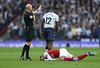 Tottenham Hotspur's Victor Wanyama leaves Arsenal's Alexandre Lacazette on the floor<br /> <br /> Photographer Rob Newell/CameraSport<br /> <br /> The Premier League - Tottenham Hotspur v Arsenal - Saturday 2nd March 2019 - Wembley Stadium - London<br /> <br /> World Copyright © 2019 CameraSport. All rights reserved. 43 Linden Ave. Countesthorpe. Leicester. England. LE8 5PG - Tel: +44 (0) 116 277 4147 - admin@camerasport.com - www.camerasport.com