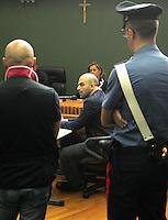 Processo ai boss del clan cammoristico dei Casalesi per le minacce allo scrittore di gomorra , Saviano<br /> nella foto Roberto Saviano sul banco dei testimoni