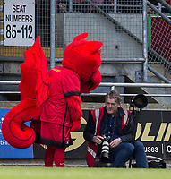 Leyton Orient Photographer Simon O'Connor chats to Orient Mascot 'Theo the Wyvern' during the Sky Bet League 2 match between Leyton Orient and Wycombe Wanderers at the Matchroom Stadium, London, England on 1 April 2017. Photo by Andy Rowland.