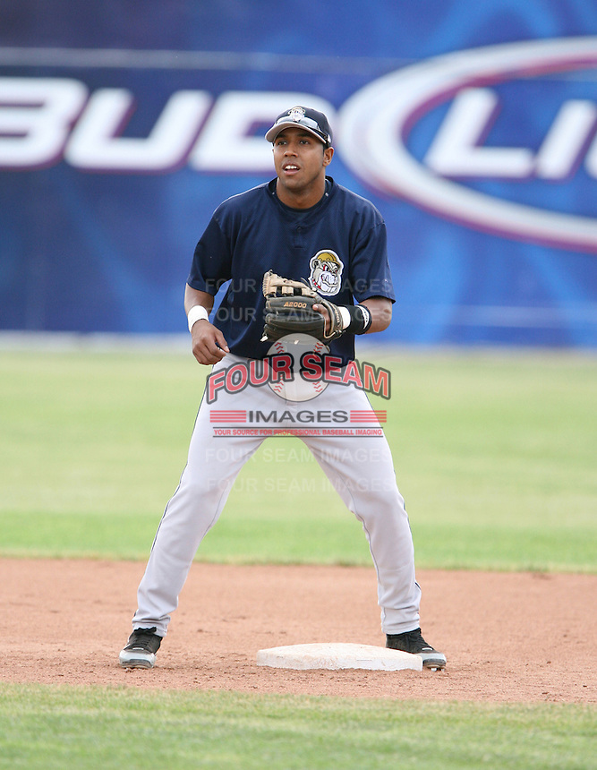 Cristo Arnal of the Mahoning Valley Scrappers, Class-A affiliate of the Cleveland Indians, during the New York-Penn League season.  Photo by:  Mike Janes/Four Seam Images