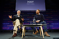 Pictured L-R: Robin Knox-Johnston talks to Matthew Stadlen. Friday 31 May 2019<br /> Re: Hay Festival, Hay on Wye, Wales, UK.