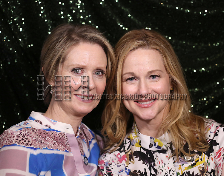 Cynthia Nixon and Laura Linney attends the 2017 Tony Awards Meet The Nominees Press Junket at the Sofitel Hotel on May 3, 2017 in New York City.