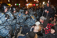 Moscow, Russia, 05/03/2012..Riot police break up an attempt by demonstrators to occupy Pushkin Square after a rally in which some 20,000 people protested against Vladimir Putin's victory in the Russian presidential election.