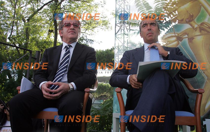 ROBERTO MARONI e MAURIZIO GASPARRI.Roma 09/09/2010 Atrju 2010. Welcome to the jungle. Giovani e lavoro, la situazione e le prospettive.Photo Samantha Zucchi Insidefoto