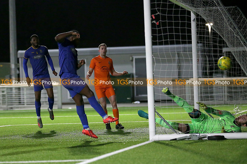 Gabriel Adelowo of Romford scores the third goal for his team during Romford vs Brentwood Town, BetVictor League North Division Football at Parkside on 11th February 2020