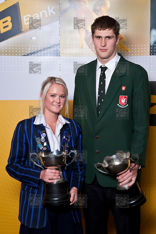 ASB College Sport Auckland Secondary School Young Sports Persons of the Year 2009 Samantha Harrison (Hockey) & Robert Loe (Basketball) with their trophies after the Awards presentation held at Eden Park on Thursday 12th of September 2009.