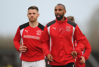 Fleetwood Town's Nathan Pond (right) and Ashley Eastham during the pre-match warm-up <br /> <br /> Photographer Kevin Barnes/CameraSport<br /> <br /> The EFL Sky Bet League One - Oxford United v Fleetwood Town - Tuesday 10th April 2018 - Kassam Stadium - Oxford<br /> <br /> World Copyright &copy; 2018 CameraSport. All rights reserved. 43 Linden Ave. Countesthorpe. Leicester. England. LE8 5PG - Tel: +44 (0) 116 277 4147 - admin@camerasport.com - www.camerasport.com