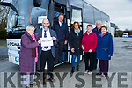 Danny Healy Rae TD  and Margaret Sheehan Kilduff with the patients before they boarded the bus to Belfast for their cataract operations on Saturday morning l-r: Pat Doyle (driver) , Ann Marie Casey Killarney, Mary Ellen Hickey Rathmore, Patrick Casey Tralee and Eileen Kennedy Ballymac
