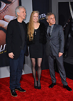 LOS ANGELES, CA. February 05, 2019: James Cameron, Suzy Amis Cameron &amp; Christoph Waltz at the premiere for &quot;Alita: Battle Angel&quot; at the Regency Village Theatre, Westwood.<br /> Picture: Paul Smith/Featureflash