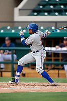 St. Lucie Mets first baseman Jhoan Urena (24) follows through on a swing during a game against the Lakeland Flying Tigers on June 11, 2017 at Joker Marchant Stadium in Lakeland, Florida.  Lakeland defeated St. Lucie 1-0.  (Mike Janes/Four Seam Images)
