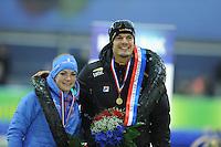 SCHAATSEN: GRONINGEN: Sportcentrum Kardinge, 18-01-2015, KPN NK Sprint, Kampioenen, Thijsje Oenema, Hein Otterspeer, ©foto Martin de Jong