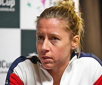 Arena Loire,  Trélazé,  France, 13 April, 2016, Semifinal FedCup, France-Netherlands, Press-conference French, team, Pauline Parmentier<br /> Photo: Henk Koster/Tennisimages