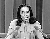 New York, NY - (FILE) -- Coretta Scott King, wife of slain civil rights leader Dr. Martin Luther King, Jr., speaks at the 1980 Democratic National Convention in New York, New York on Wednesday, August 13, 1980.  .Credit: Arnie Sachs / CNP