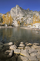 Prusik Peak and rocks in Leprechaun Lake, Enchantment Lakes, Alpine Lakes Wilderness, Washington