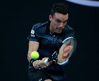 14th January 2019, Melbourne Park, Melbourne, Australia; Australian Open Tennis, day 1; <br /> Roberto Bautista Agut of Spain  returns the ball during a match against Andy Murray of Great Britain