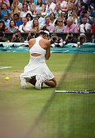 Garbine Muguruza (14) of Spain celebrates her Match Point after her victory over Venus Williams of United States in their Ladies' Singles Final today - Muguruza def Williams 7-5, 6-0<br /> <br /> Photographer Ashley Western/CameraSport<br /> <br /> Wimbledon Lawn Tennis Championships - Day 12 - Saturday 15th July 2017 -  All England Lawn Tennis and Croquet Club - Wimbledon - London - England<br /> <br /> World Copyright &not;&copy; 2017 CameraSport. All rights reserved. 43 Linden Ave. Countesthorpe. Leicester. England. LE8 5PG - Tel: +44 (0) 116 277 4147 - admin@camerasport.com - www.camerasport.com