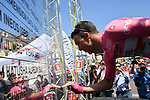 Race leader Maglia Rosa Valerio Conti (ITA) UAE Team Emirates at sign on before the start of Stage 12 of the 2019 Giro d'Italia, running 158km from Cuneo to Pinerolo, Italy. 23rd May 2019<br /> Picture: Gian Mattia D'Alberto/LaPresse | Cyclefile<br /> <br /> All photos usage must carry mandatory copyright credit (© Cyclefile | Gian Mattia D'Alberto/LaPresse)