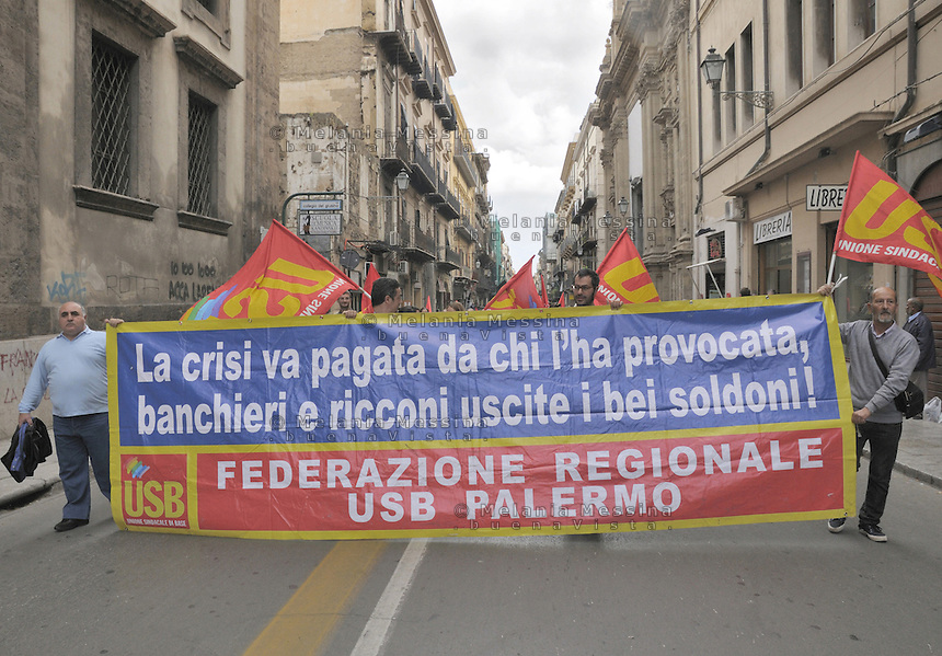Palermo, march against government cuts and austerity...Palermo, corteo contro i tagli del governo voluti dall'Europa.