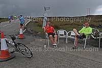 Competitors climb the challenging iconic and notorious 6km 10% stretch of road namely The Tumble during the Wales Velothon 2016 140km route cycling race. Relaxing at the half way point.  <br /> <br /> <br /> Jeff Thomas Photography -  www.jaypics.photoshelter.com - <br /> e-mail swansea1001@hotmail.co.uk -<br /> Mob: 07837 386244 -