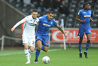 Swansea City's Matt Grimes under pressure from Bolton Wanderers' Josh Magennis<br /> <br /> Photographer Kevin Barnes/CameraSport<br /> <br /> The EFL Sky Bet Championship - Swansea City v Bolton Wanderers - Saturday 2nd March 2019 - Liberty Stadium - Swansea<br /> <br /> World Copyright © 2019 CameraSport. All rights reserved. 43 Linden Ave. Countesthorpe. Leicester. England. LE8 5PG - Tel: +44 (0) 116 277 4147 - admin@camerasport.com - www.camerasport.com