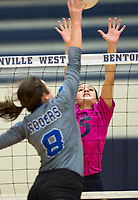 NWA Democrat-Gazette/CHARLIE KAIJO Bentonville West High School Jayden Lindsey (15) blocks during the girl's volleyball game on Thursday, October 12, 2017 at Bentonville West High School in Centerton.