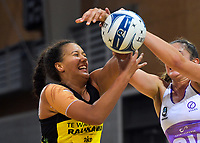 Aliyah Dunn and Kate Burley compete for the ball during  the ANZ Premiership netball match between the Central Pulse and Northern Stars at Te Rauparaha Arena in Wellington, New Zealand on Wednesday, 3 April 2019. Photo: Dave Lintott / lintottphoto.co.nz