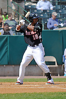 Kenny Wilson (18) of the New Britain Rock Cats bats during a game against the Trenton Thunder on at New Britain Stadium on May 7, 2014  in New Britain, Connecticut.  Trenton defeated New Britain 6-4.  (Gregory Vasil/Four Seam Images)