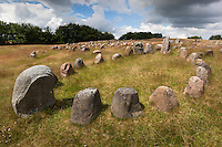 Denmark, Jutland, Aalborg: Lindholm Høje, viking burial ground, with stones placed in oval outline of a viking ship | Daenemark, Juetland, Aalborg: Lindholm Høje, Vikinger Begraebnisstaette, die Steine sind in einem Oval angeordnet wie bei einem Vikingerschiff