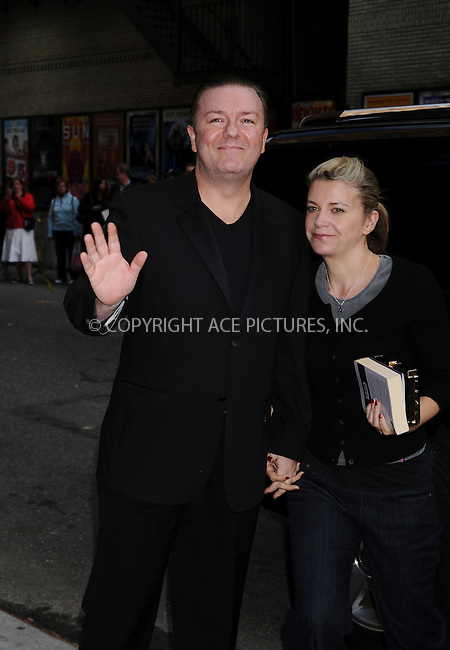 WWW.ACEPIXS.COM . . . . .  ....May 18 2009, New York City....Actor Ricky Gervais and Jane Fallon made an appearance at the 'Late Show with David Letterman' at the Ed Sullivan Theatre on May 18 2009 in New York City....Please byline: AJ Sokalner - ACEPIXS.COM..... *** ***..Ace Pictures, Inc:  ..tel: (212) 243 8787..e-mail: info@acepixs.com..web: http://www.acepixs.com