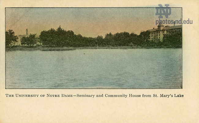 GFCL 48/59:  Color postcard of the Seminary (Holy Cross Hall) and Community House (Columba Hall) across St. Mary's Lake, c1900s..Image from the University of Notre Dame Archives.