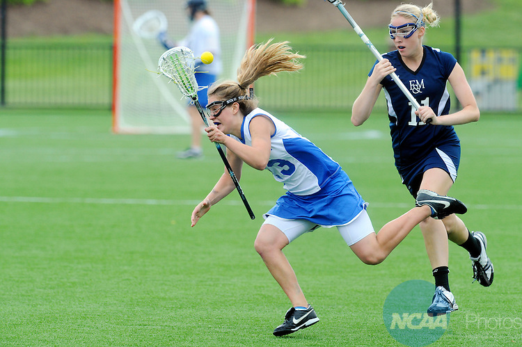 18 MAY 2008:   Tara Eckberg (13) of Hamilton College tries to capture her balance against Jen Pritchard (11) of Franklin & Marshall during the Division III Women's Lacrosse Championship at Roanoke College's Donald J. Kerr Stadium in Salem, Virginia. Hamilton claimed the national championship with a 13-6 win over Franklin & Marshall. Don Petersen/NCAA Photos