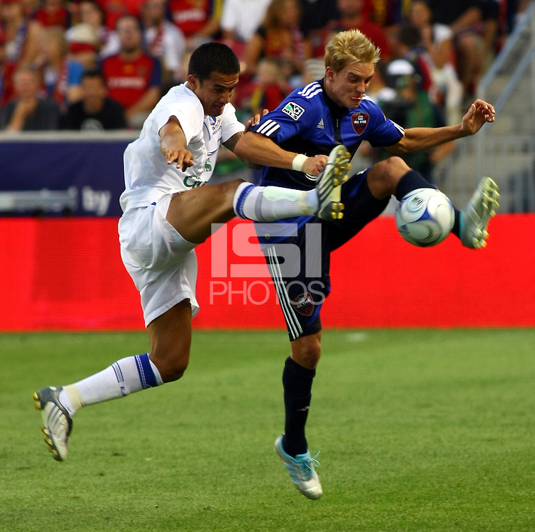 Tim Cahill, Stuart Holden in the MLS All Stars v Everton 4-3 Everton win at Rio Tinto Stadium in Sandy, Utah on July 29, 2009