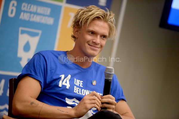 NEW YORK, NY - JUNE 7: Cody Simpson speaks at the SDG Media Zone for the Ocean Conference at United Nations Headquarters in New York City on June 7, 2017. Credit: Dennis Van Tine/MediaPunch