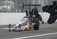 Feb 10, 2017; Pomona, CA, USA; NHRA top alcohol dragster driver James Day during qualifying for the Winternationals at Auto Club Raceway at Pomona. Mandatory Credit: Mark J. Rebilas-USA TODAY Sports