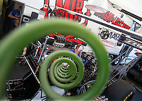 May 22, 2016; Topeka, KS, USA; Detailed view of an air hose going to the engine on the dragster of NHRA top fuel driver Richie Crampton in the pits during the Kansas Nationals at Heartland Park Topeka. Mandatory Credit: Mark J. Rebilas-USA TODAY Sports