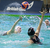 PICTURE BY CHRIS MANGNALL/SWPIX.COM - Water Polo - British Water Polo Championships 2012 - Women's Final, Manchester v London Otters - Manche's Sarah Pimblett shoots but hits the crossbar v  London Otters Alexis Higlett.