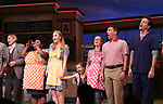 John Cullum, Maia Nkenge Wilson, Betsy Wolfe, Victoria Collett, Caitlin Houlahan, David Josefsberg and Jason Mraz take a bow at the curtain call of Broadway's 'Waitress' at The Brooks Atkinson Theatre on November 3, 2017 in New York City.